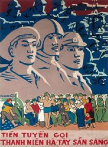Vintage Vietnam Propaganda poster of men becoming soldiers